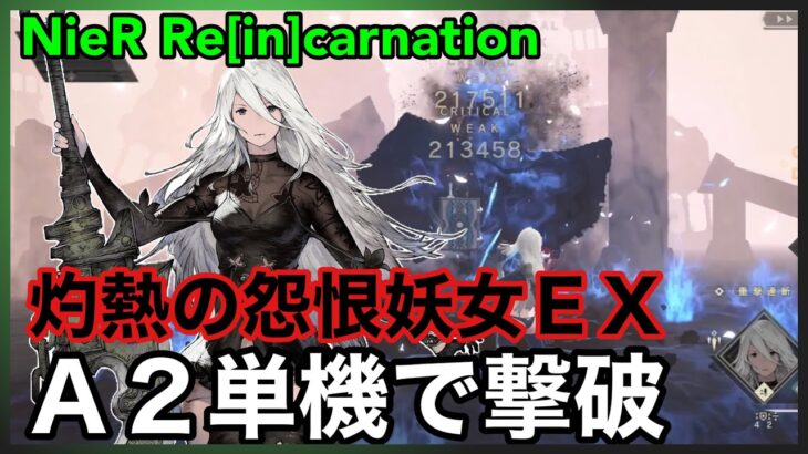 【NieR】灼熱の怨恨妖女EX A2単機で撃破【NieR Re[in]carnation】